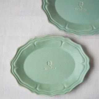 マカロンミントグリーン・グレース楕円皿