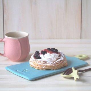 マカロンブルー&イエロー・カッティングボード皿(L)