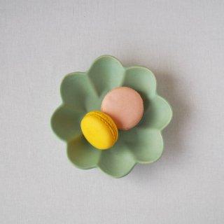 マカロンミントグリーン・花の皿-s-