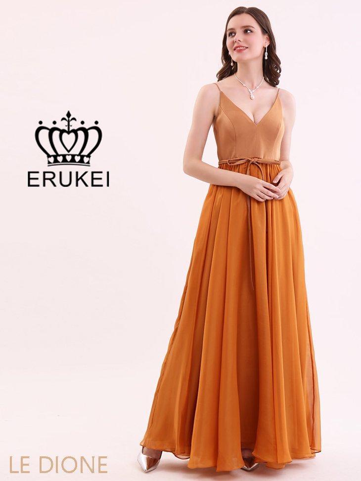 [ERUKEI/エルケイ]光沢シフォンフレアロングドレス