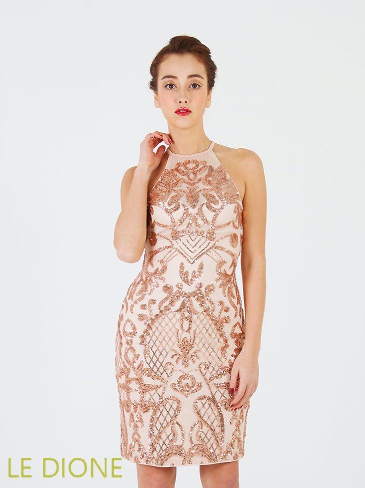 [LIPSY/リプシー]アメリカンスリーブスパンコール刺繍ミニドレス