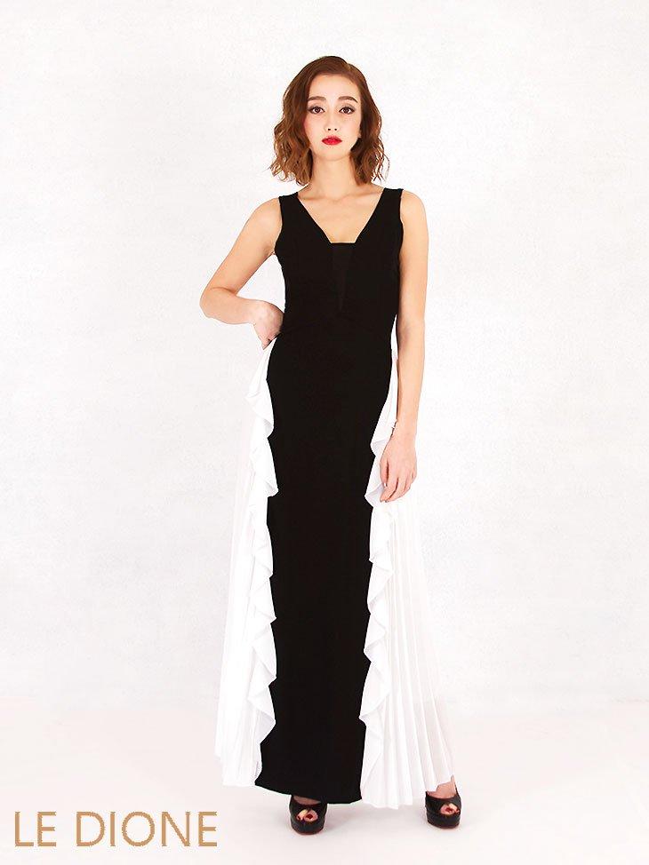 [RINASCIMENTO/リナシメント]バイカラーサイドフリル&プリーツのマキシロングドレス