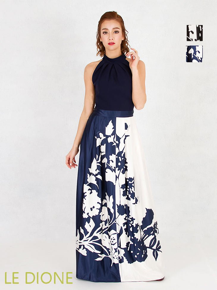 [RINASCIMENTO/リナシメント]アメリカンスリーブモノクロフラワーロングドレス