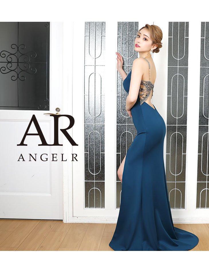 【Angel R/エンジェルアール】バックビジューデザインのスリット入りタイトロングドレス