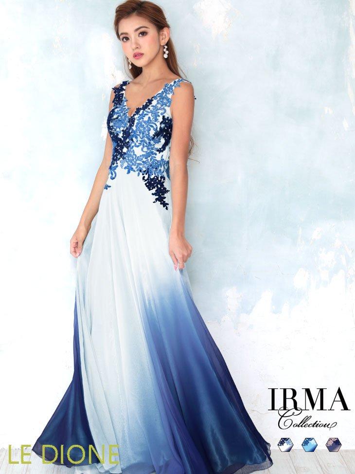 [JEAN MACLEAN/ジャンマクレーン]刺繍美グラデージョンロングドレス