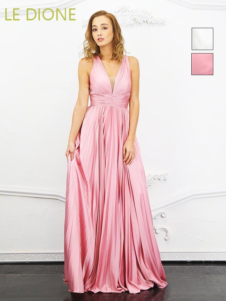 [ERUKEI/エルケイ]プリーツサテンのフレアーロングドレス