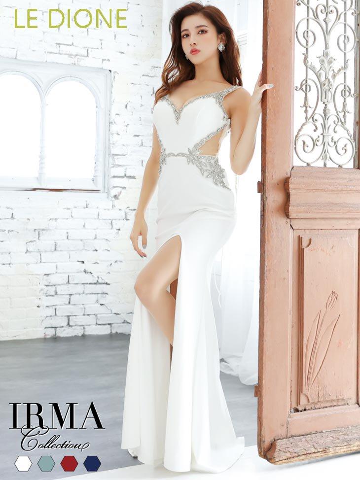[JEAN MACLEAN/ジャンマクレーン]ビジュ刺繍サイドカットスリット入りロングドレス