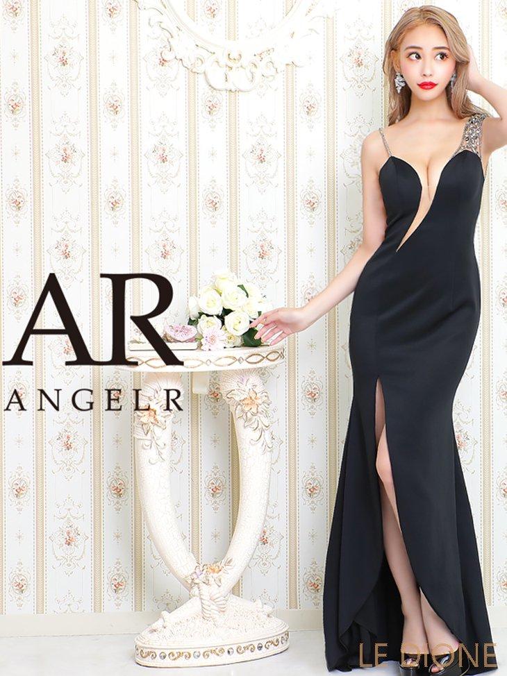 【Angel R/エンジェルアール】アシンメトリーショルダーデザインタイトロングドレス