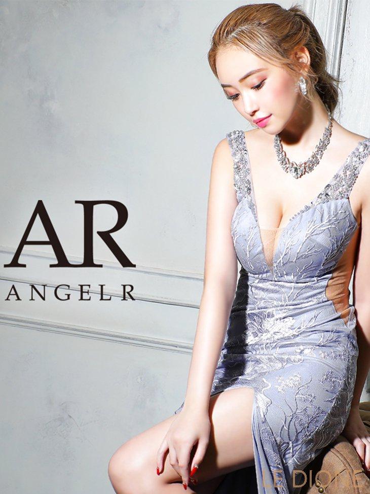 【Angel R/エンジェルアール】レース刺繍デザインビジュータイトロングドレス