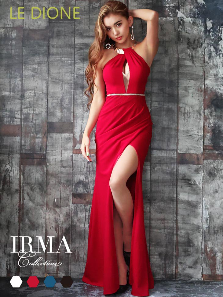 [JEAN MACLEAN/ジャンマクレーン]ゴールドプレートホルタースリット入りロングドレス