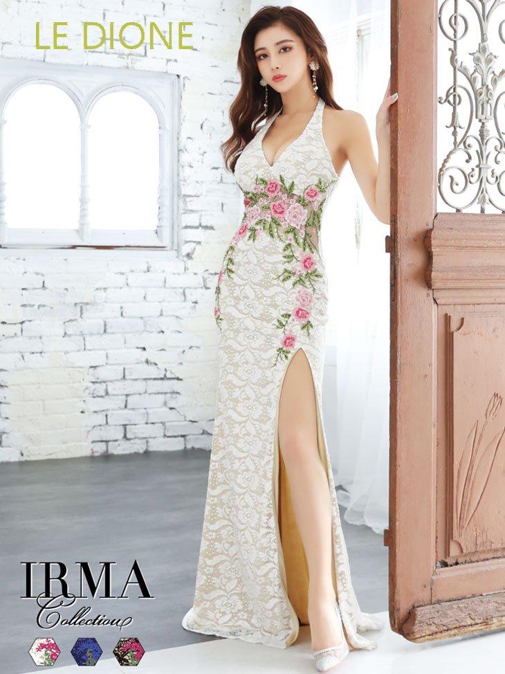 [JEAN MACLEAN/ジャンマクレーン]レース&花刺繍のスリット入りホルターロングドレス
