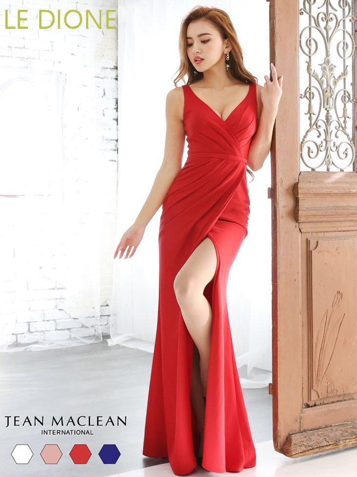 [JEAN MACLEAN/ジャンマクレーン]ドレープデザインシンプルロングドレス