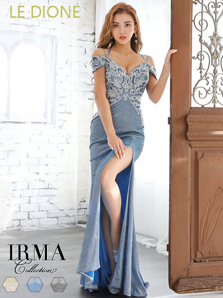 [JEAN MACLEAN/ジャンマクレーン]ラメ生地x刺繍オフショルダーロングドレス