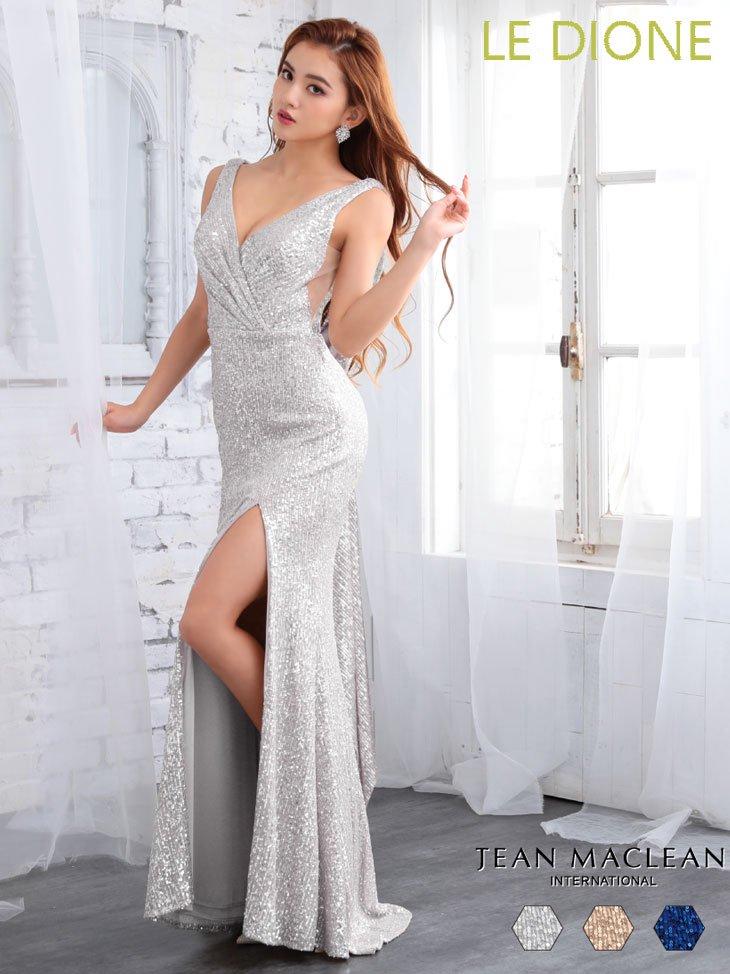 [JEAN MACLEAN/ジャンマクレーン]バックデザイン総スパンコールロングドレス