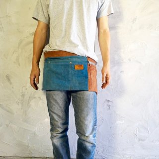 前掛けショートエプロン/ブルー×ブラウン/三河織物 綾織