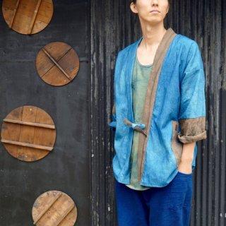 パッチワーク羽織り/ブルー×グレー/三河織物