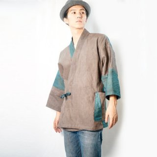 パッチワーク作務衣/グレー×グリーン/三河織物