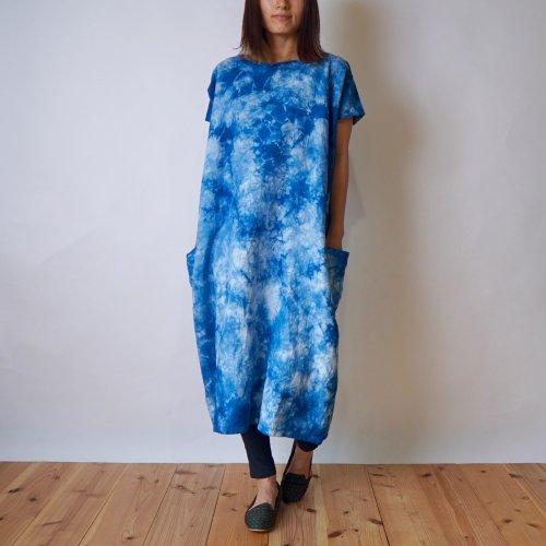 夏ゆる四角ワンピ/藍染まだら/三河織物
