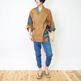 パッチワーク作務衣/ブラウン×グリーン/三河織物