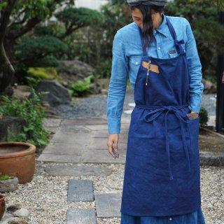 カフェエプロン/インディゴ/三河織物 平織り