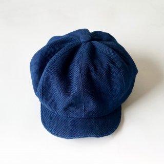 藍染キャスケット/ディープインディゴ/三河木綿 刺し子織