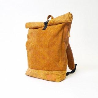 ロールトップ バックパック/マスタード/三河木綿 刺し子織