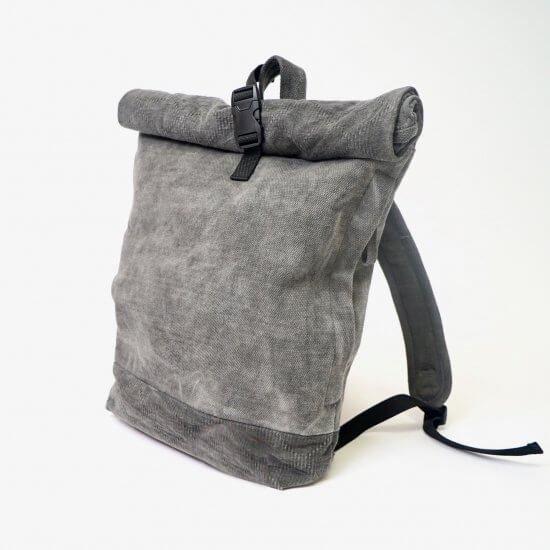 ロールトップ バックパック/グレー/三河木綿 刺し子織