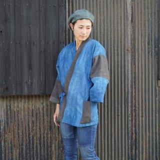 パッチワーク作務衣/ブルー×グレー/三河織物