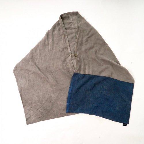 ポンチョストール/グレー×ブルーグレー/知多木綿 ダブルガーゼ