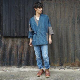 パッチワーク作務衣/ブルーグレー×グレー/三河織物