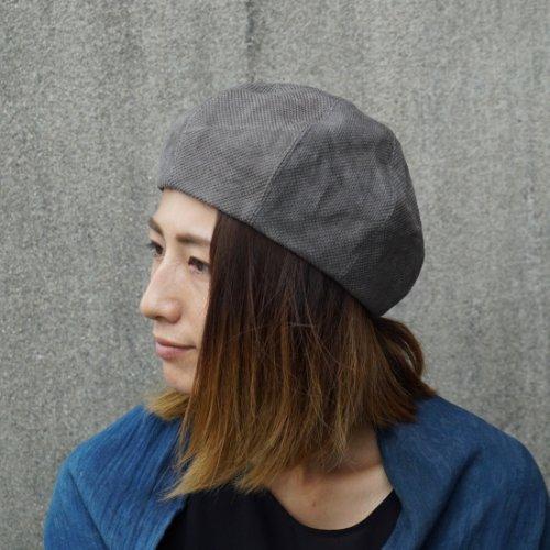もこもこベレー帽/4カラー/三河木綿 刺し子織