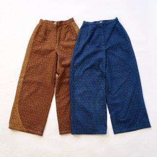 麻柄ワイドパンツ/2カラー/三河木綿 刺し子織