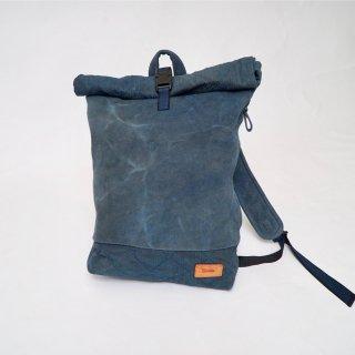ロールトップ バックパック/ブルーグレー /三河木綿 刺し子織
