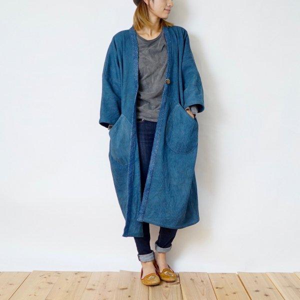 モコっと羽織りコート/ブルーグレー/三河木綿 刺し子織