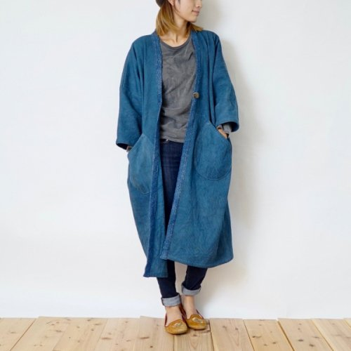 モコっと羽織りコート/ブルー/三河木綿 刺し子織