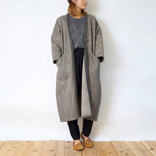 モコっと羽織りコート/グレー/三河木綿 刺し子織