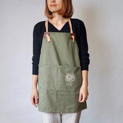 ショートエプロン/ダメージウォッシュ カーキ/オリジナルロゴへ変更可/三河織物