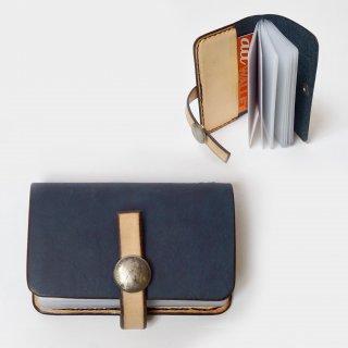 カードケースツートン/コンチョ付き/藍染レザーヌメ革