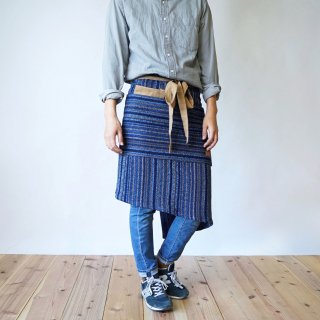 腰巻カフェエプロン/藍縞/遠州織物