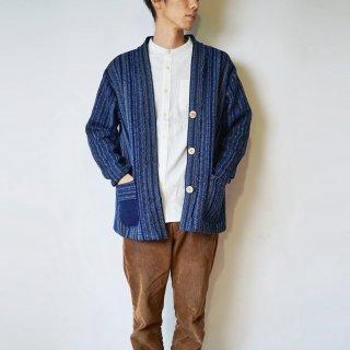 羽織りジャケット/藍縞/遠州木綿