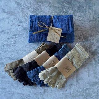 和紙の5本指ソックス/選べる2色セット/24-27cm/藍染手ぬぐいラッピング付