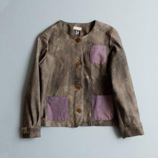 襟なしブルゾン/ グレー/ 三河木綿 刺し子織