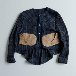 えんびブルゾン/藍縞/遠州織物