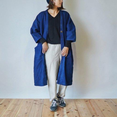 モコっと羽織りコート/インディゴブルー/三河木綿 刺し子織