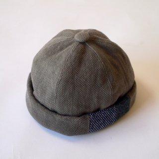 パッチワークロールキャップ/グレー/三河木綿 刺し子織