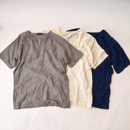 キーネックガーゼTシャツ/3カラー/知多木綿 ダブルガーゼ