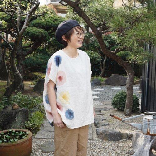 ゆったりガーゼTシャツ/水玉ドット/知多木綿 ダブルガーゼ