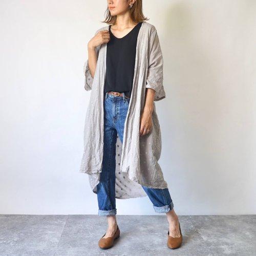 シースルー羽織りガウン/ドットグレー/遠州織物