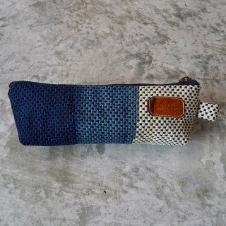 ペンケース/インディゴグラデーション/ 三河木綿 刺し子織