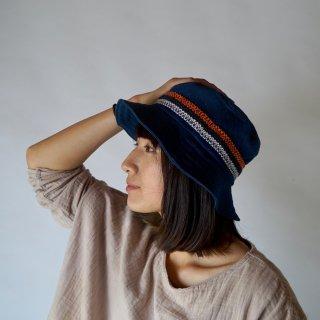 バケットハット/前掛けデザイン/ネイビー/知多木綿